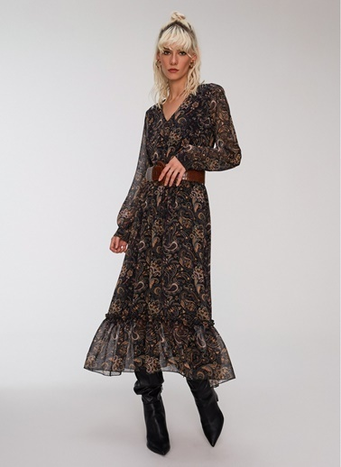 People By Fabrika Şal Desen Dökümlü Elbise Siyah